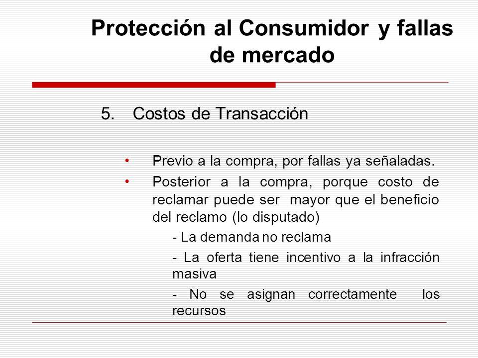 Protección al Consumidor y fallas de mercado