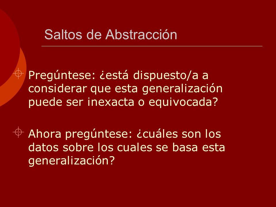 MODELOS MENTALES Saltos de Abstracción. Pregúntese: ¿está dispuesto/a a considerar que esta generalización puede ser inexacta o equivocada