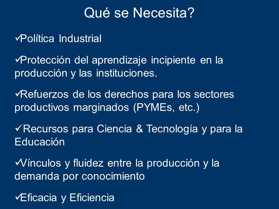 Qué se Necesita Política Industrial