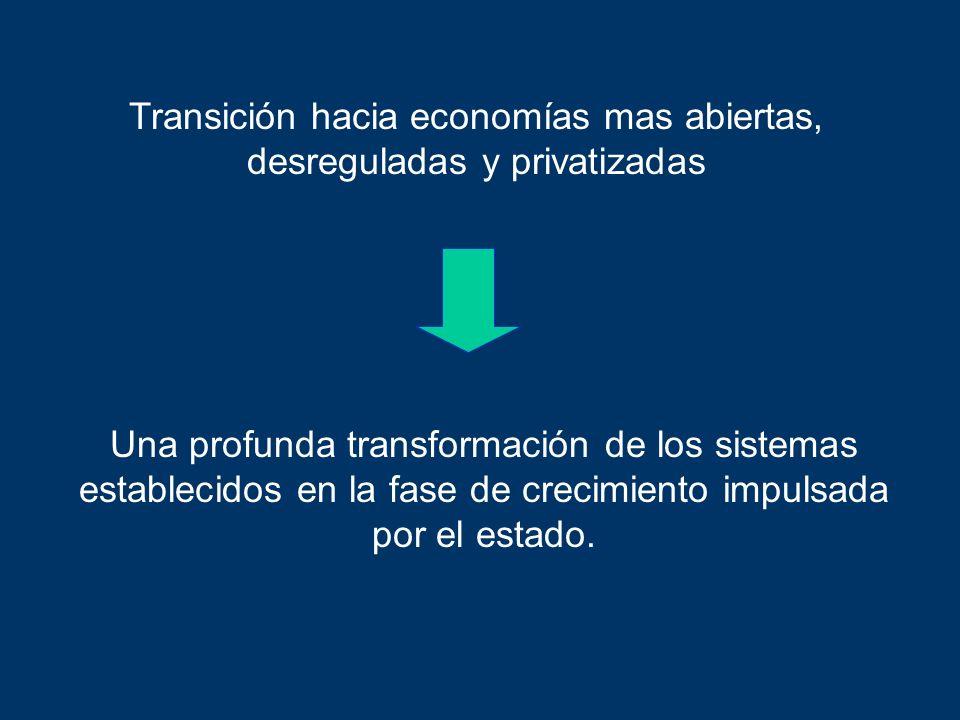 Transición hacia economías mas abiertas, desreguladas y privatizadas