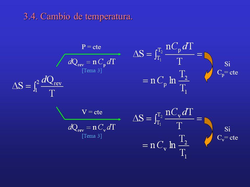 3.4. Cambio de temperatura. P = cte Si Cp= cte V = cte Si Cv= cte