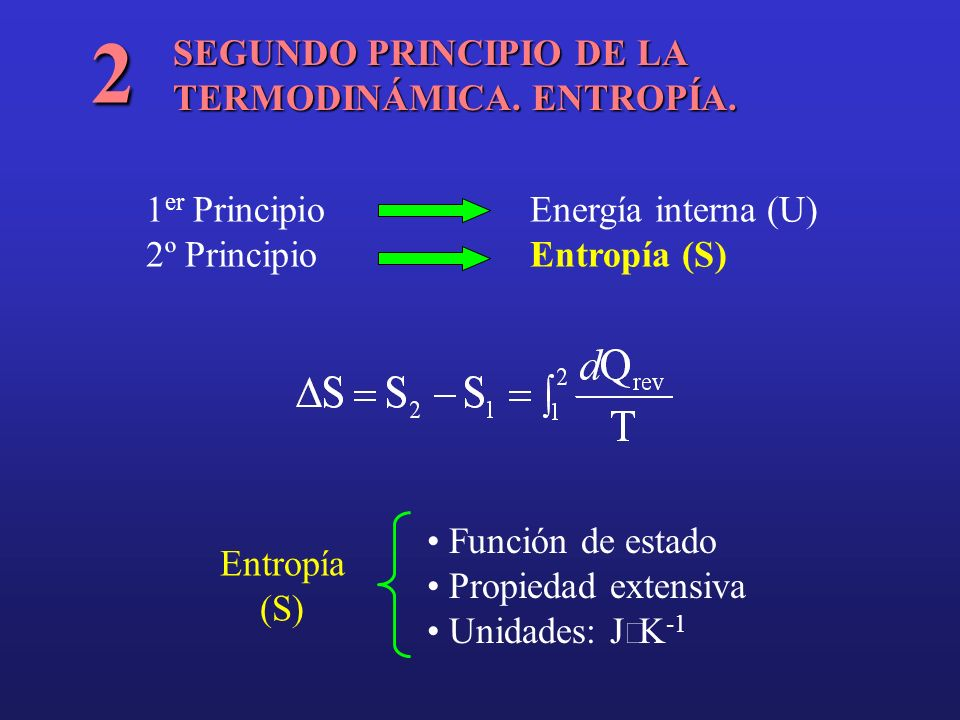 2 SEGUNDO PRINCIPIO DE LA TERMODINÁMICA. ENTROPÍA.