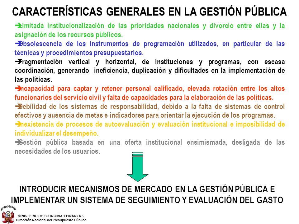 CARACTERÍSTICAS GENERALES EN LA GESTIÓN PÚBLICA