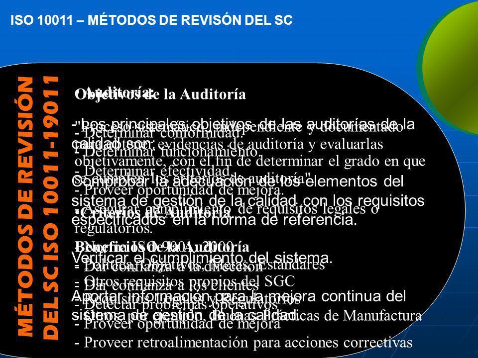 MÉTODOS DE REVISIÓN DEL SC ISO 10011-19011