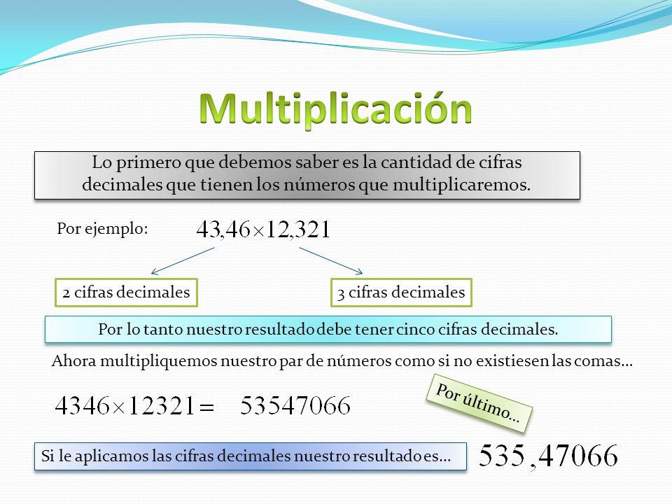Por lo tanto nuestro resultado debe tener cinco cifras decimales.