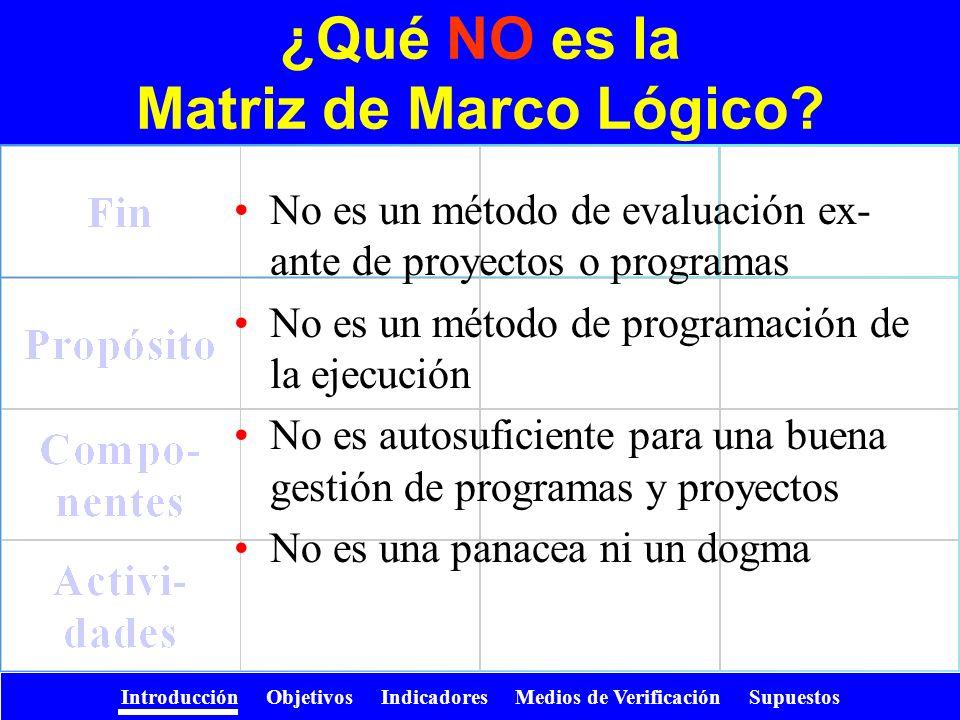 ¿Qué NO es la Matriz de Marco Lógico