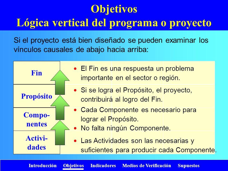 Objetivos Lógica vertical del programa o proyecto