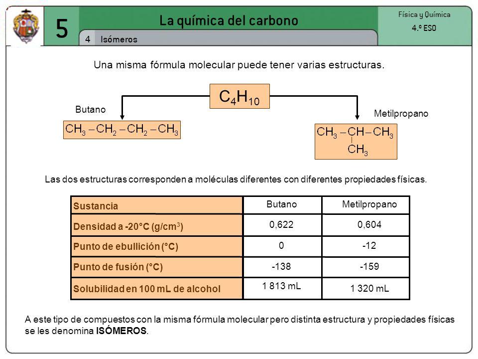 Una misma fórmula molecular puede tener varias estructuras.