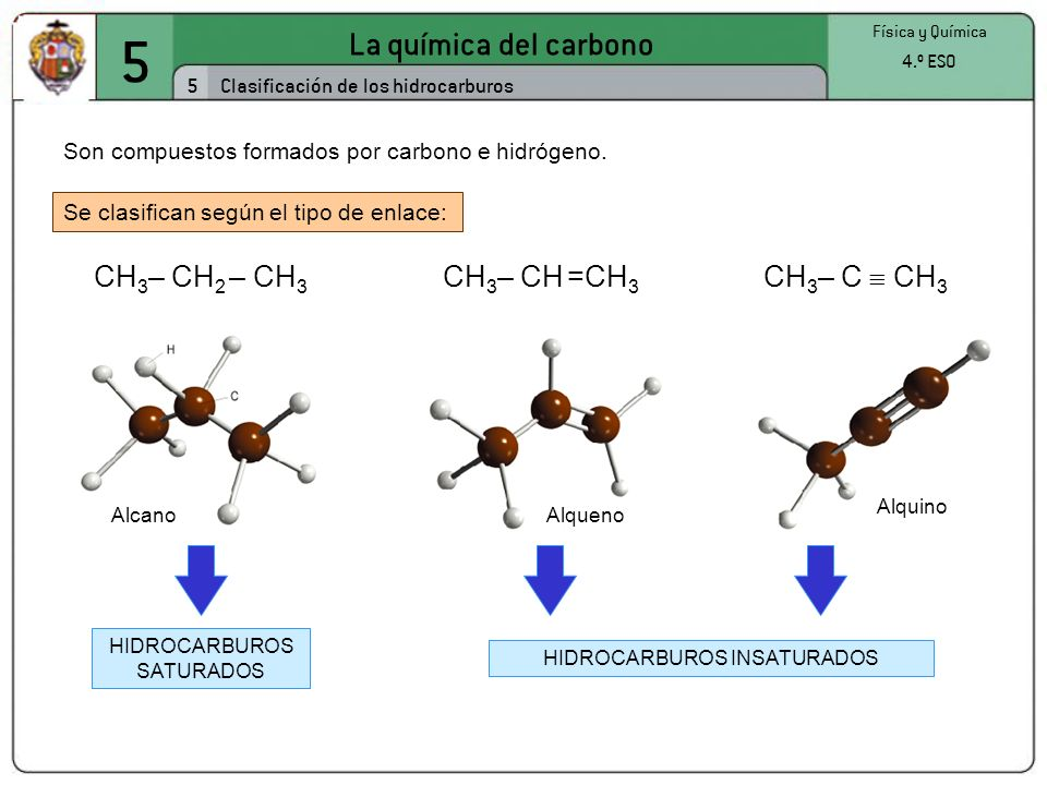 5 La química del carbono CH3– CH2 – CH3 CH3– CH =CH3 CH3– C  CH3 5