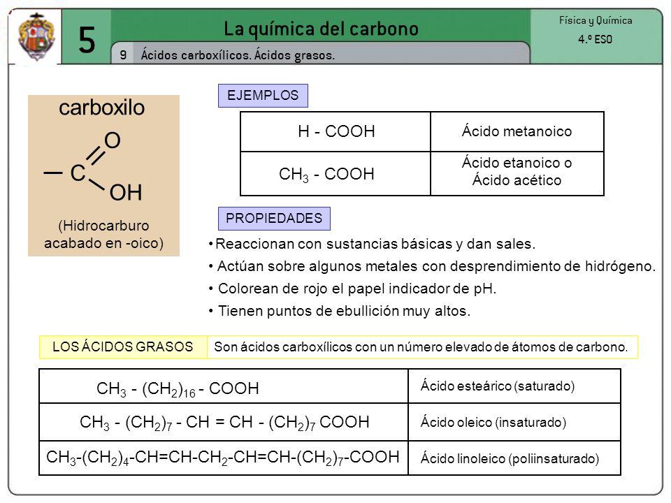 5 La química del carbono carboxilo O C OH H - COOH CH3 - COOH
