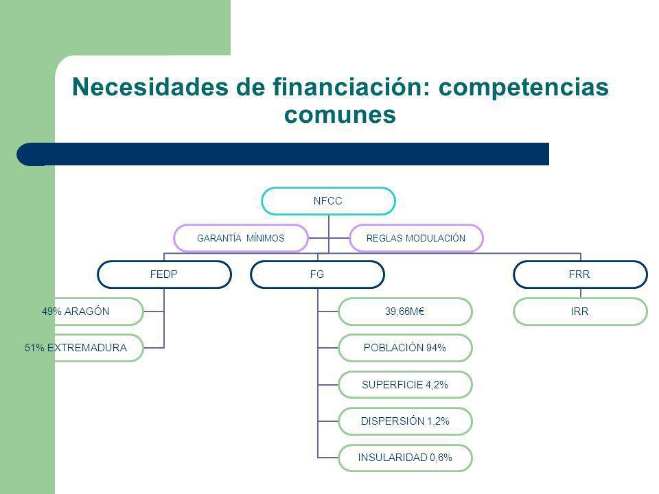 Necesidades de financiación: competencias comunes