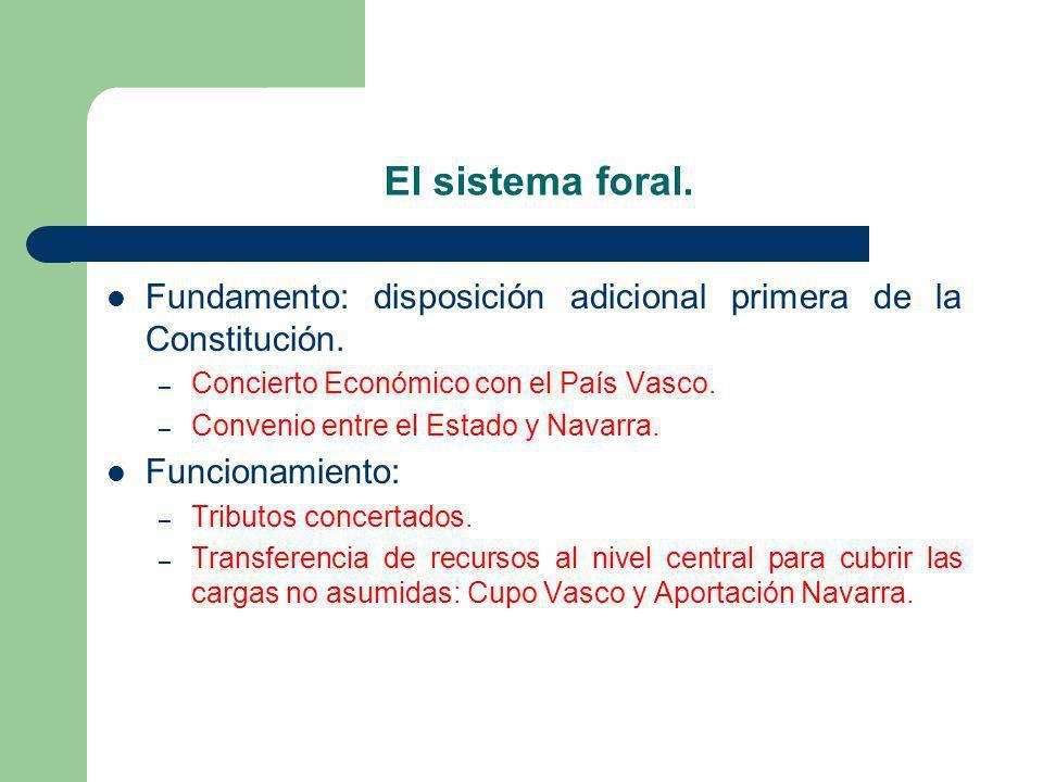 El sistema foral.Fundamento: disposición adicional primera de la Constitución. Concierto Económico con el País Vasco.