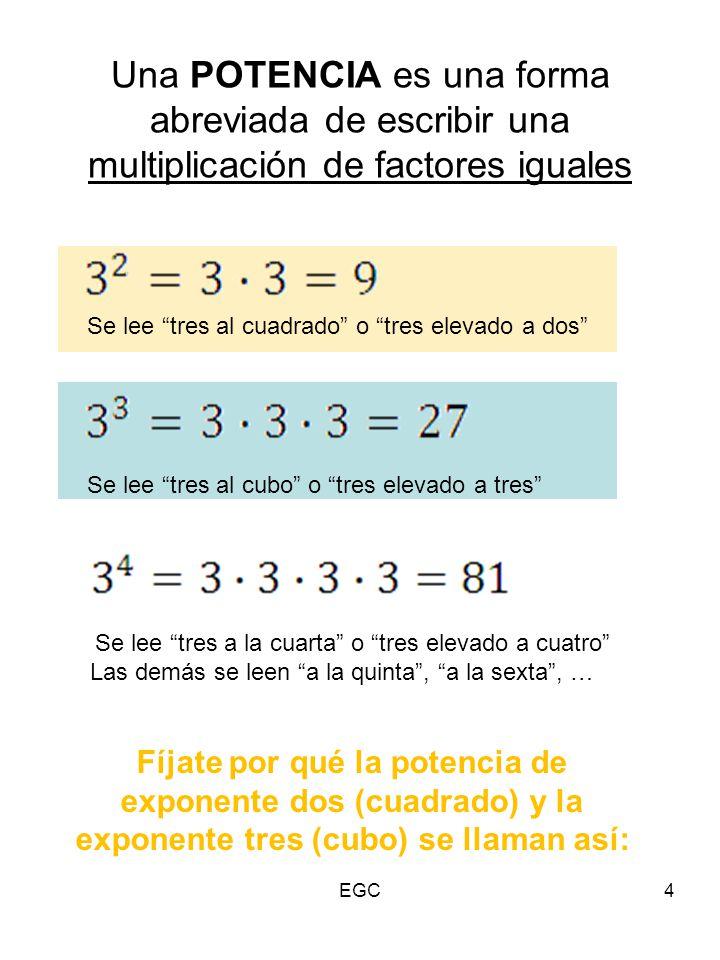 Una POTENCIA es una forma abreviada de escribir una multiplicación de factores iguales