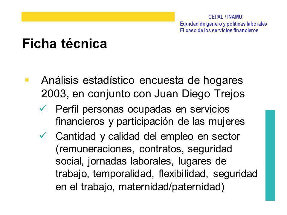 Ficha técnica Análisis estadístico encuesta de hogares 2003, en conjunto con Juan Diego Trejos.