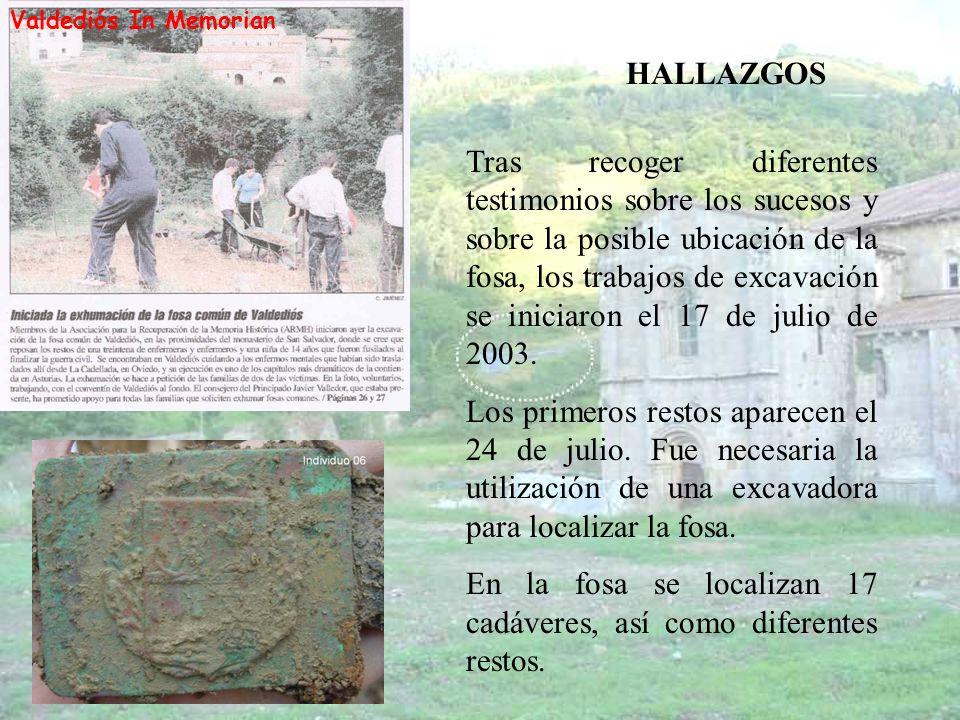 En la fosa se localizan 17 cadáveres, así como diferentes restos.