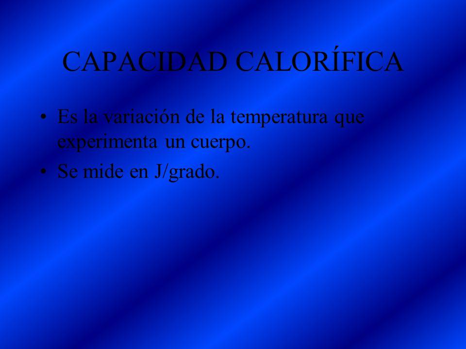 CAPACIDAD CALORÍFICA Es la variación de la temperatura que experimenta un cuerpo.