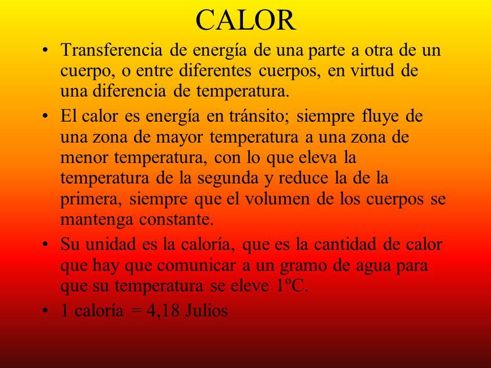 CALOR Transferencia de energía de una parte a otra de un cuerpo, o entre diferentes cuerpos, en virtud de una diferencia de temperatura.