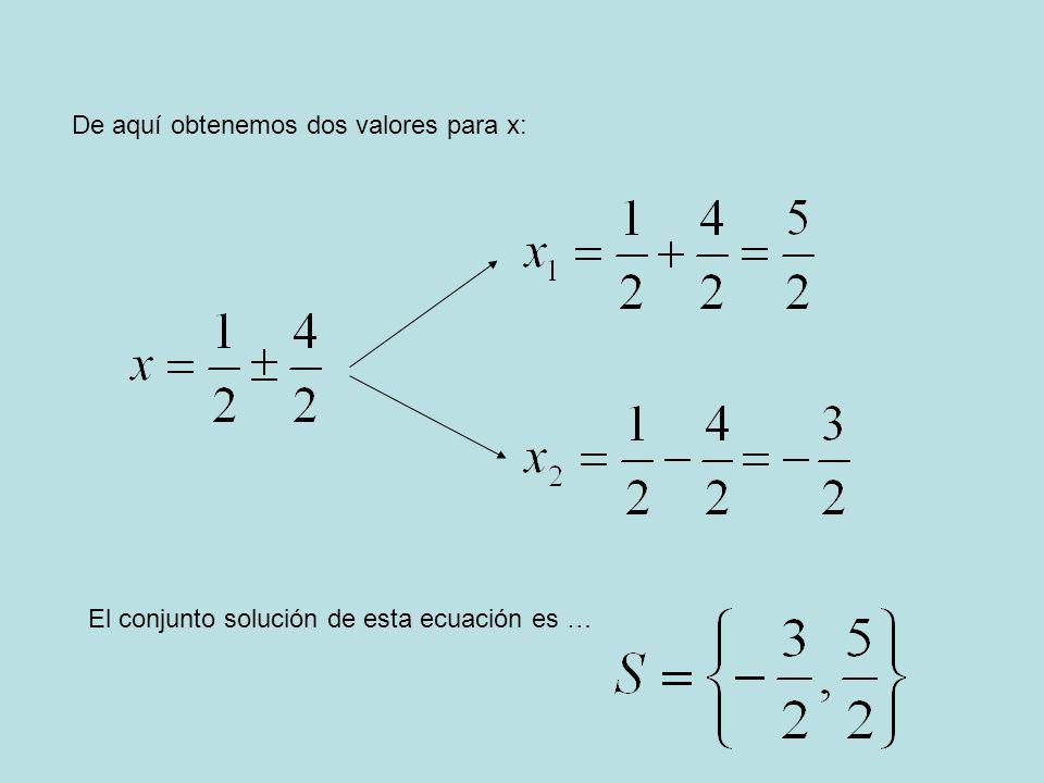 De aquí obtenemos dos valores para x: