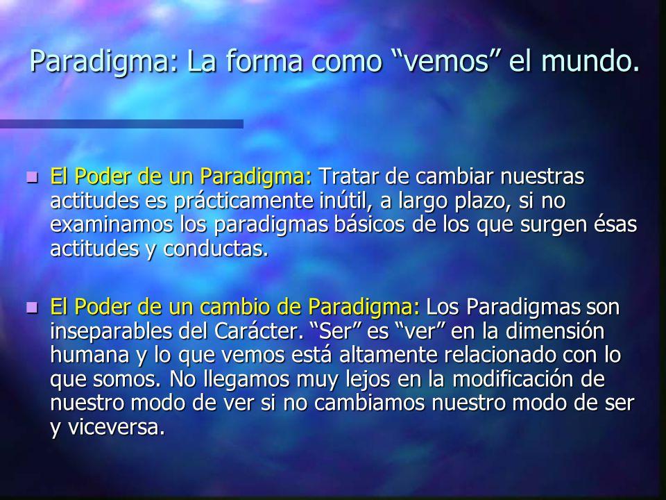 Paradigma: La forma como vemos el mundo.