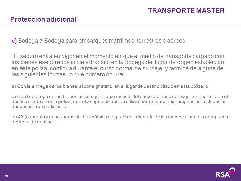 TRANSPORTE MASTER Protección adicional