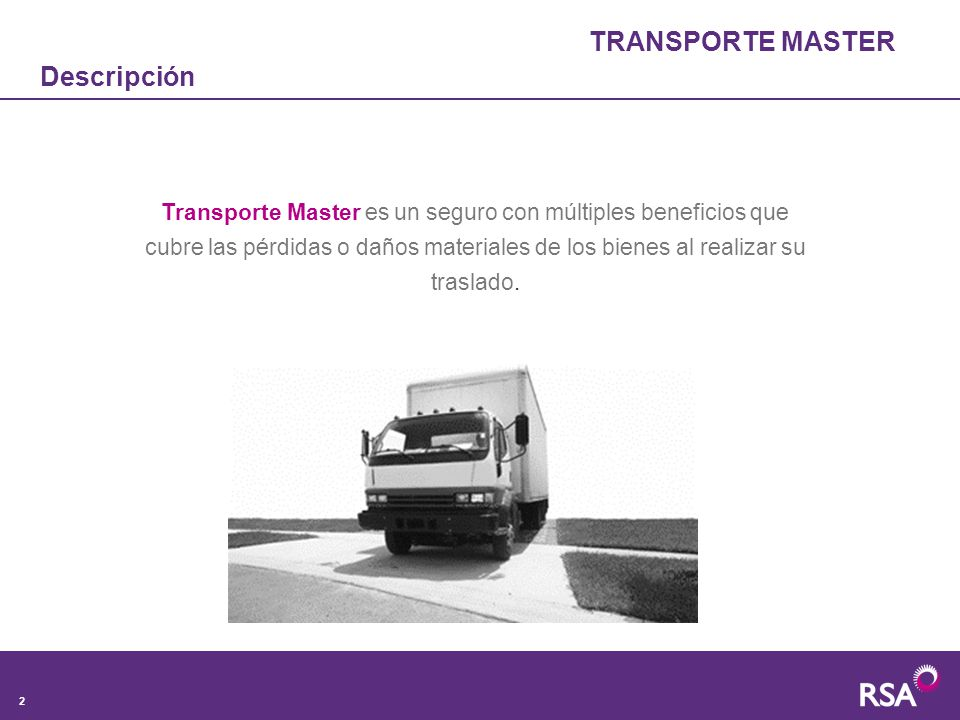 TRANSPORTE MASTER Descripción