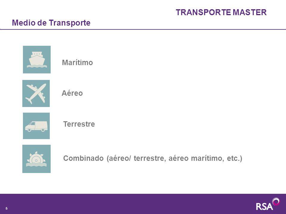 TRANSPORTE MASTER Medio de Transporte Marítimo Aéreo Terrestre