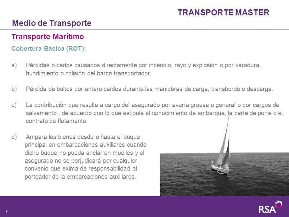 TRANSPORTE MASTER Medio de Transporte Transporte Marítimo