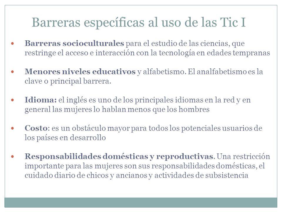 Barreras específicas al uso de las Tic I