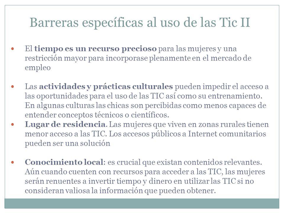 Barreras específicas al uso de las Tic II