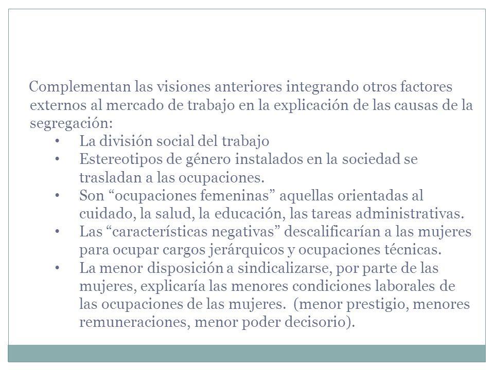 Complementan las visiones anteriores integrando otros factores externos al mercado de trabajo en la explicación de las causas de la segregación: