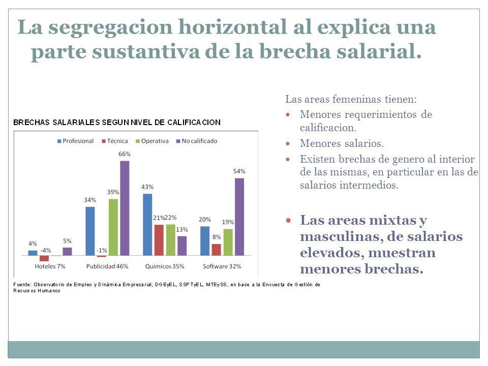La segregacion horizontal al explica una parte sustantiva de la brecha salarial.