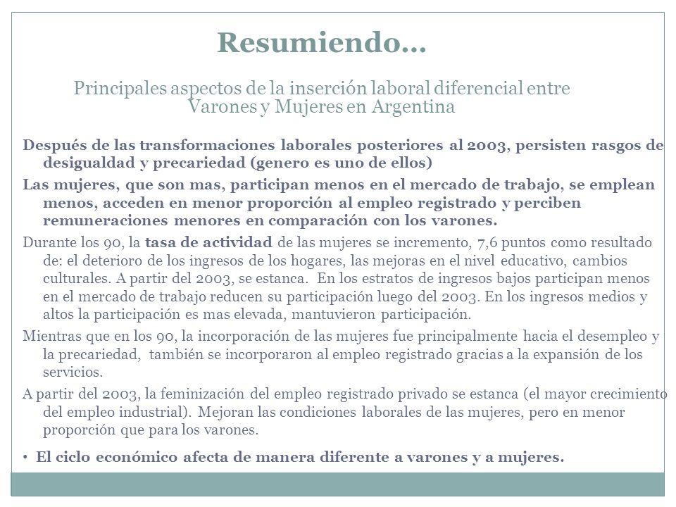 Resumiendo… Principales aspectos de la inserción laboral diferencial entre Varones y Mujeres en Argentina.