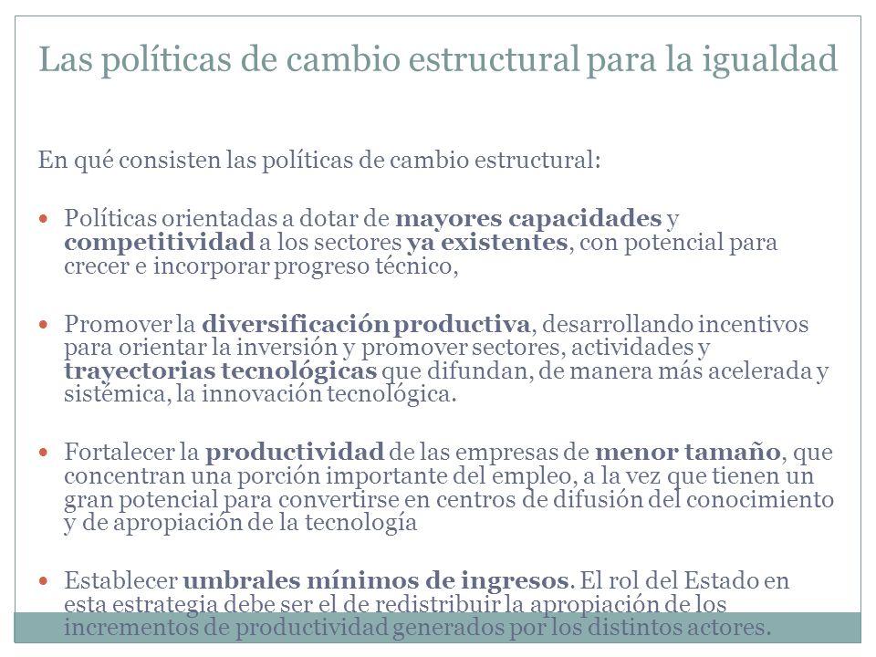 Las políticas de cambio estructural para la igualdad