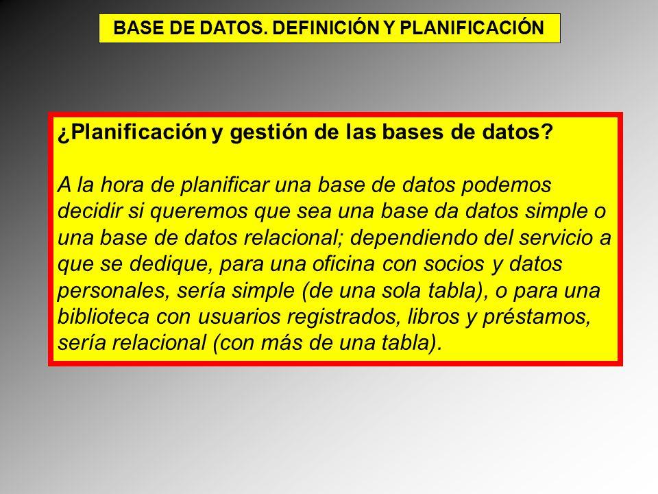 BASE DE DATOS. DEFINICIÓN Y PLANIFICACIÓN