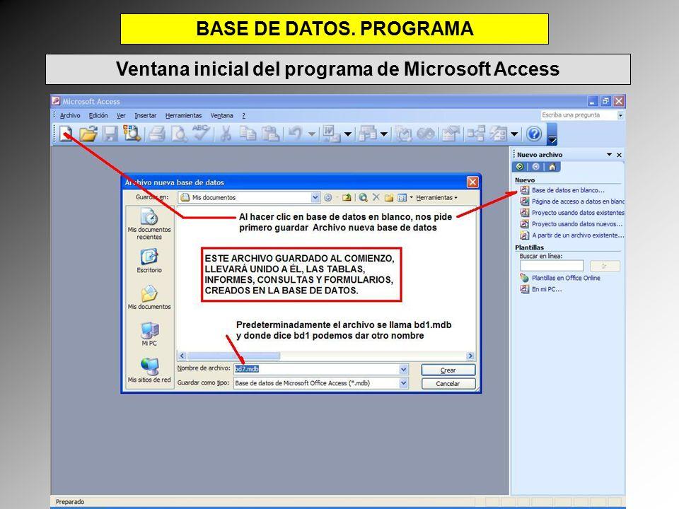 Ventana inicial del programa de Microsoft Access
