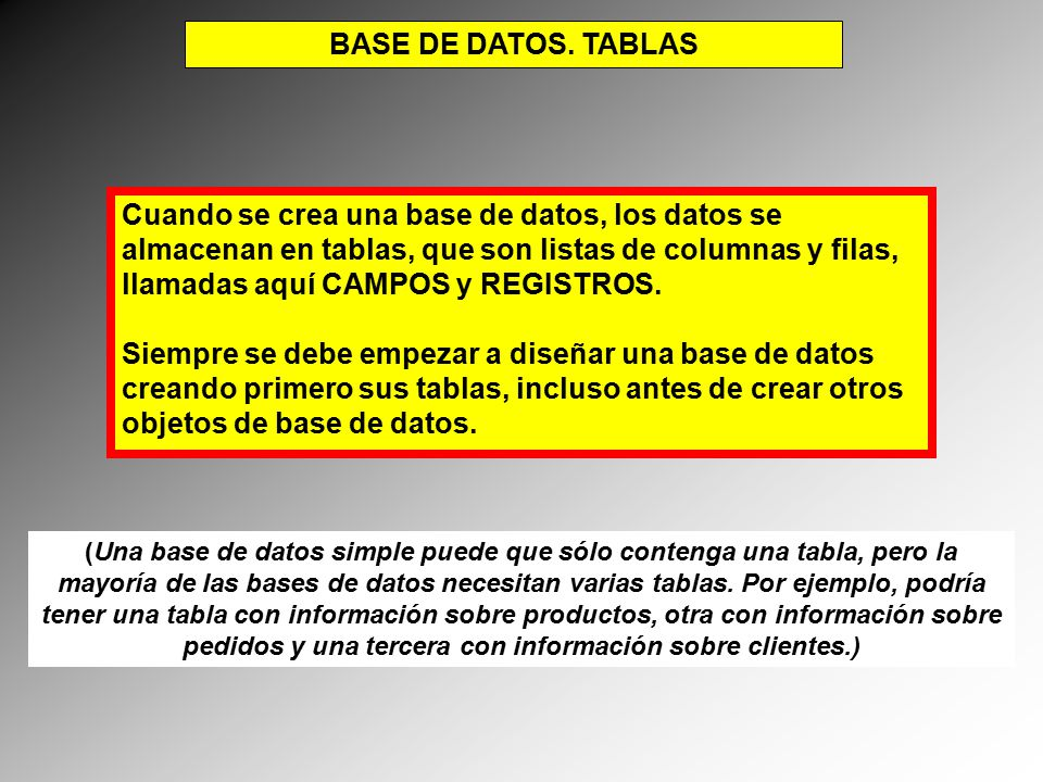 BASE DE DATOS. TABLAS