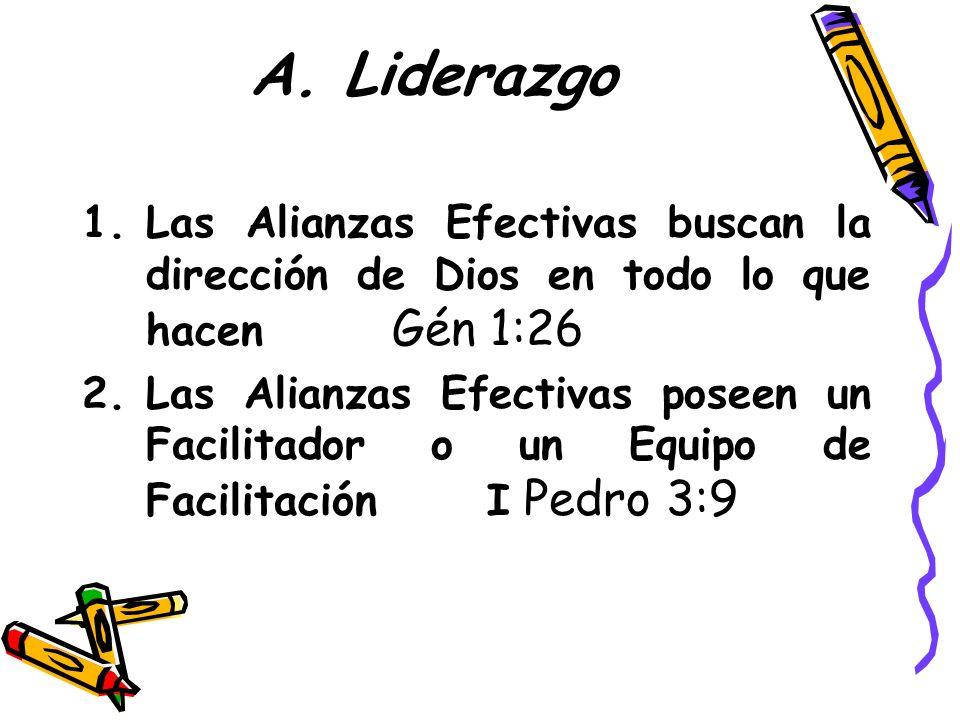 A. Liderazgo Las Alianzas Efectivas buscan la dirección de Dios en todo lo que hacen Gén 1:26.