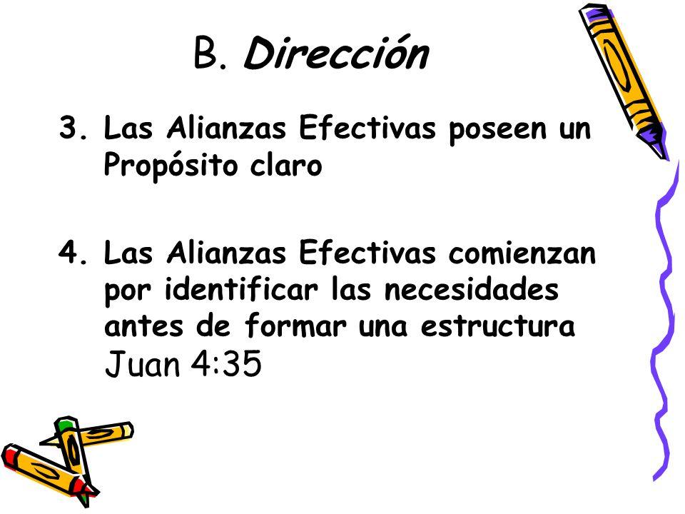 B. Dirección Las Alianzas Efectivas poseen un Propósito claro