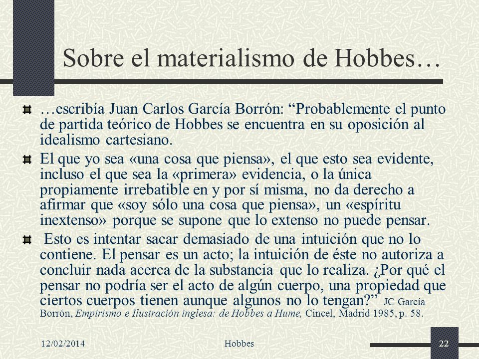 Sobre el materialismo de Hobbes…