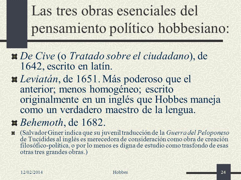Las tres obras esenciales del pensamiento político hobbesiano: