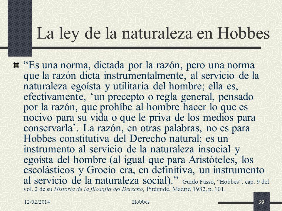 La ley de la naturaleza en Hobbes