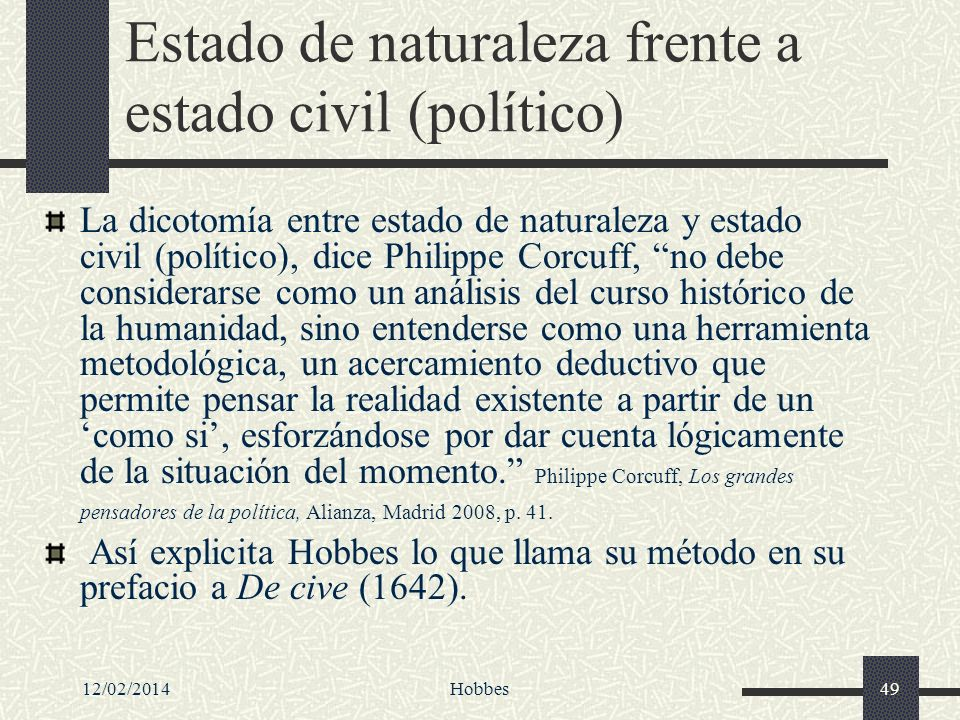 Estado de naturaleza frente a estado civil (político)