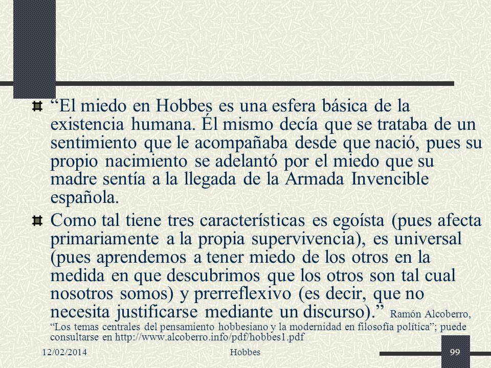 El miedo en Hobbes es una esfera básica de la existencia humana