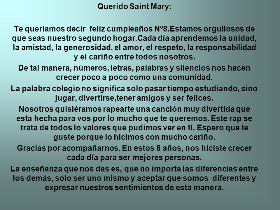 Querido Saint Mary: