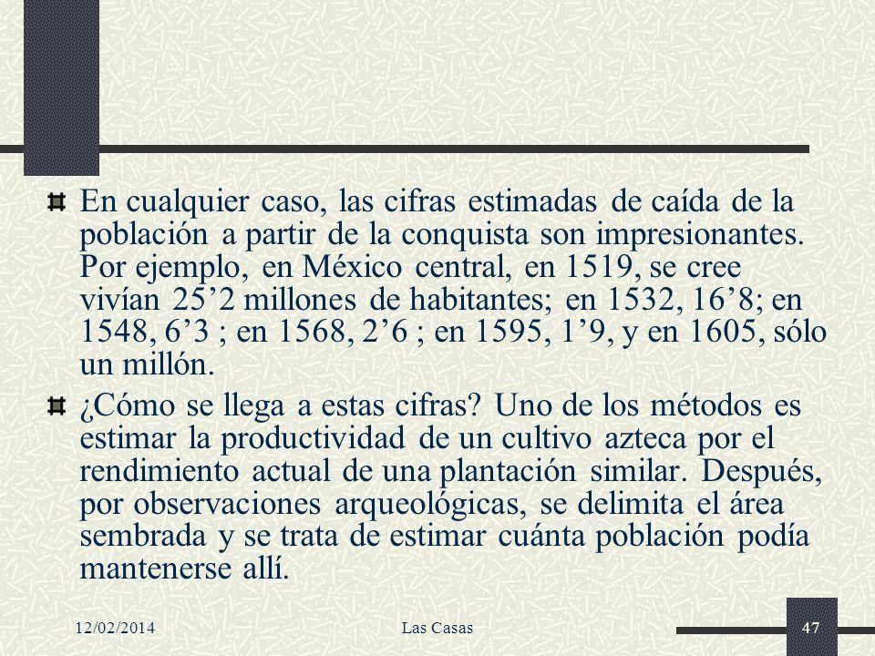 En cualquier caso, las cifras estimadas de caída de la población a partir de la conquista son impresionantes. Por ejemplo, en México central, en 1519, se cree vivían 25'2 millones de habitantes; en 1532, 16'8; en 1548, 6'3 ; en 1568, 2'6 ; en 1595, 1'9, y en 1605, sólo un millón.