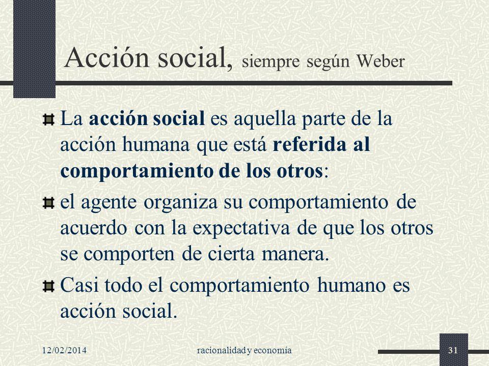 Acción social, siempre según Weber