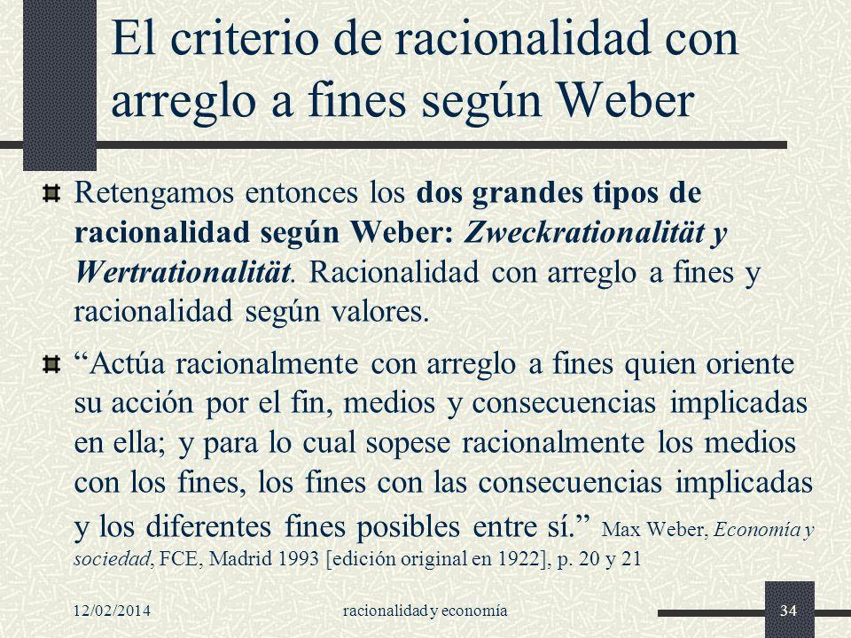 El criterio de racionalidad con arreglo a fines según Weber