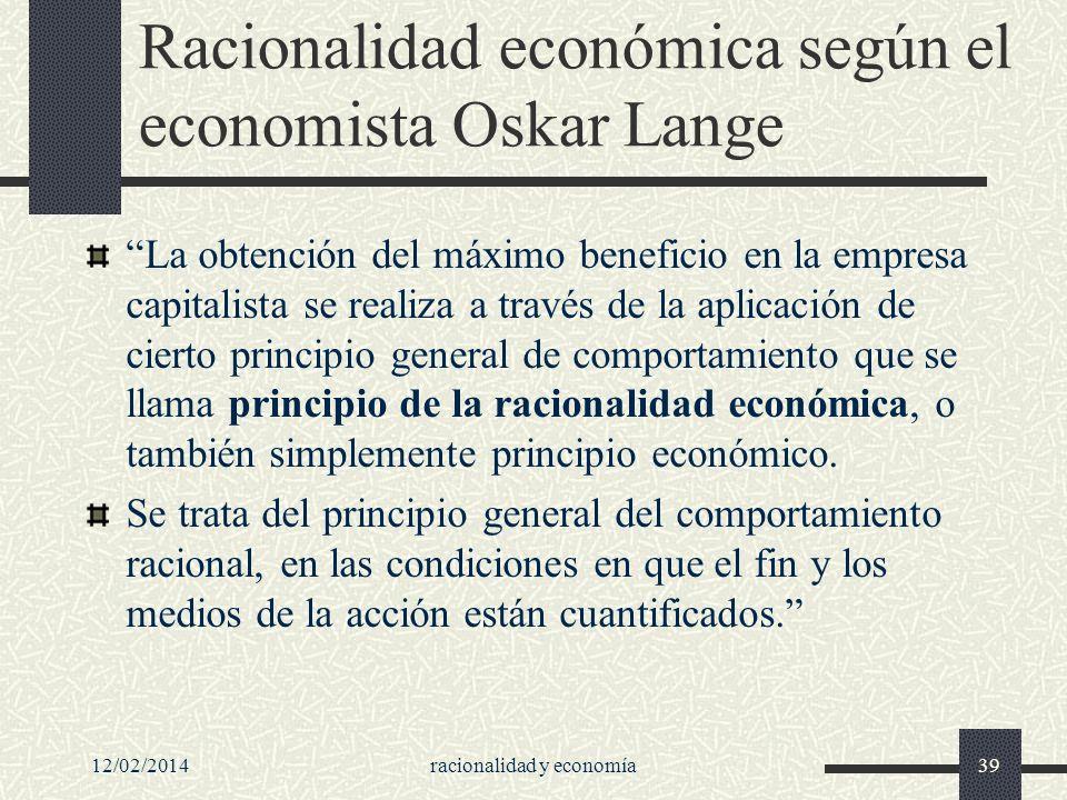 Racionalidad económica según el economista Oskar Lange