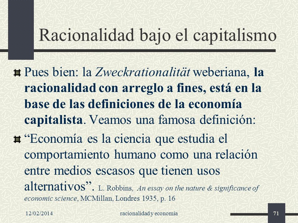 Racionalidad bajo el capitalismo