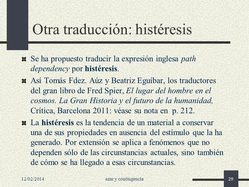 Otra traducción: histéresis